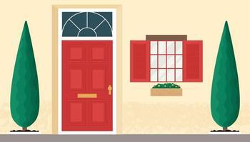 porte et fenêtre en bois avant. illustration vectorielle design plat vecteur
