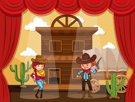 Personnes jouant au cow-boy sur scène vecteur