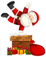 Père Noël sur la scène de la cheminée vecteur