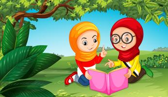 Deux, filles musulmanes, lecture livre, dans parc vecteur