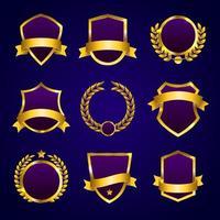 collection d'insignes de cadre doré doré vecteur