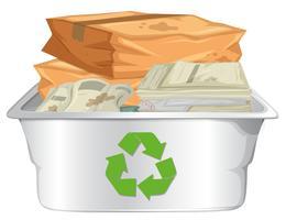 Recycler le papier sur fond blanc