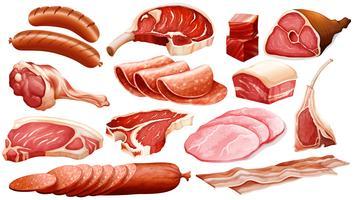 Différents types de produits carnés vecteur