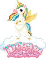 personnage de dessin animé pégase avec rêve une petite bannière de police de rêve vecteur
