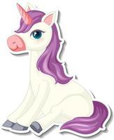 adorables autocollants de licorne avec un personnage de dessin animé de licorne violette vecteur