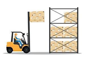 chariot élévateur avec homme conduisant dans l'entrepôt vecteur