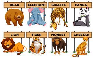 Nombreux types d'animaux avec des panneaux en bois