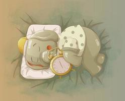 l'éléphant dort en serrant le réveil dans ses bras. vecteur
