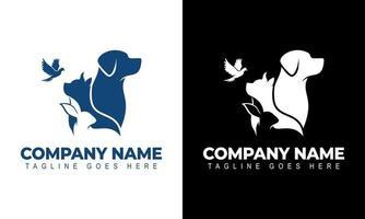chien, lapin, modèle vectoriel d'oiseau sur fond noir et blanc