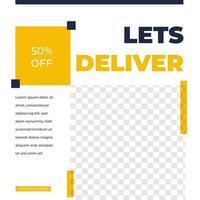modèle de publication de médias sociaux de conception de flux de livraison de courrier vecteur