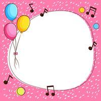 Modèle de bordure rose avec des ballons et des notes de musique vecteur