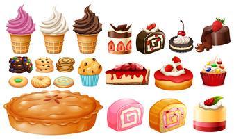 Ensemble de différents types de desserts vecteur