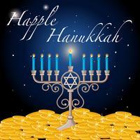 Modèle de carte Happy Hanukkah avec lumière et or vecteur