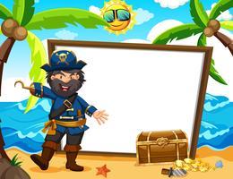 Capitaine de pirate et bannière blanche vecteur