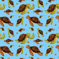 Modèle sans couture de tortue de mer vecteur