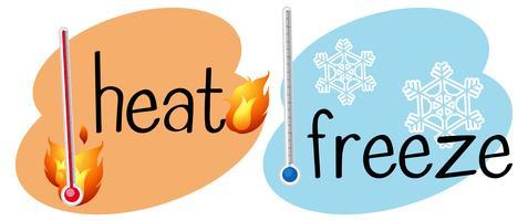 Thermomètres pour la chaleur et congelés vecteur