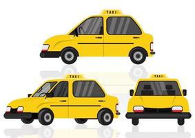 Taxi voiture jaune cabine isolé sur fond blanc vecteur