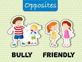 Mots opposés pour intimider et amical