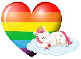 Personnage de Licorne dormant avec un coeur arc-en-ciel vecteur