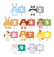Nombreux animaux et nombres un à dix vecteur