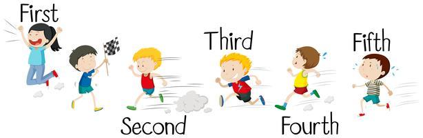 Enfants courir en course vecteur