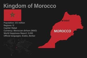 carte du maroc très détaillée avec drapeau, capitale et petite carte du monde vecteur