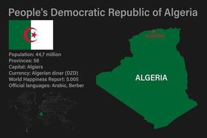 carte algérie très détaillée avec drapeau, capitale et petite carte du monde vecteur