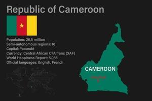 carte camerounaise très détaillée avec drapeau, capitale et petite carte du monde vecteur