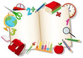 Livre ouvert avec élément d'apprentissage vecteur