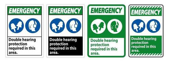 cache-oreilles ou bouchons d'oreille à double protection auditive vecteur