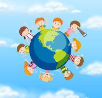 Des étudiants internationaux sur le globe