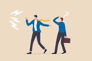 mauvaise habitude blâmer les autres, excuser et jeter une erreur à un collègue ou à une équipe vecteur