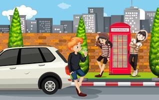 Adolescent urbain en ville vecteur