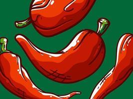 4 formes différentes de motif de piments rouges vecteur