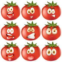 Tomate fraîche avec des expressions faciales