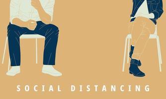 illustration de la distanciation sociale pour prévenir le virus pandémique. vecteur