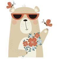 ours mignon dans des lunettes de soleil avec un bouquet de fleurs et de papillons vecteur