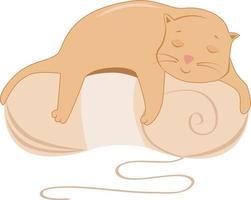 chat sur une pelote de fil à tricoter vecteur