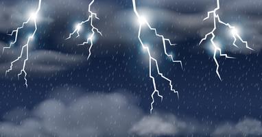 Orage sur un ciel pluvieux