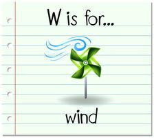 Flashcard lettre W est pour le vent vecteur