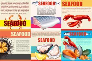 Infographie avec texte et fruits de mer vecteur