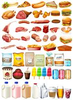 Différent type de nourriture et dessert vecteur