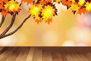 Design de fond avec des feuilles jaunes sur l'arbre vecteur