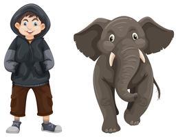 Garçon et bébé éléphant vecteur