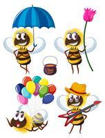 Personnages d'abeilles dans différentes actions vecteur