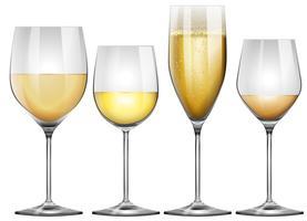 Vin blanc dans de grands verres