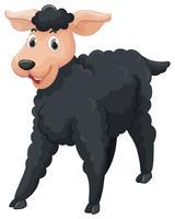 Mouton noir au visage heureux vecteur
