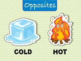 Mots opposés pour froid et chaud vecteur