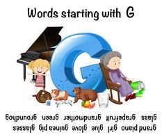 Mots français commençant par la lettre G vecteur