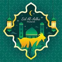 eid al adha mubarak avec modèle de décoration vecteur